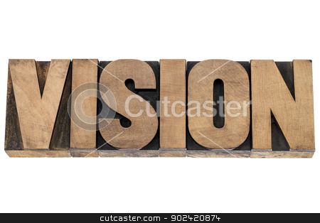vision word in wood type stock photo, vision word - isolated word in vintage letterpress wood type printing blocks by Marek Uliasz