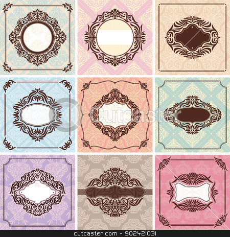 Set of vintage frames stock vector clipart, Set of vintage frames. Great for invitations and greeting cards. by SelenaMay