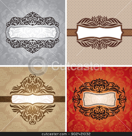 Set of vintage frames stock vector clipart, Set of floral vintage frames vector illustration by SelenaMay