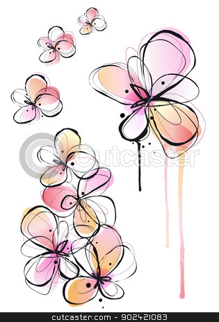 abstract watercolor flowers, vector  stock vector clipart, abstract ink and watercolor flowers, vector background by Beata Kraus