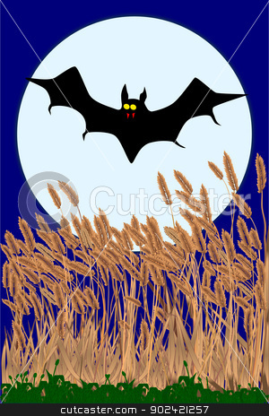 Vampire Bat stock vector clipart, A vampire bat flying in the face of a full moon by Kotto