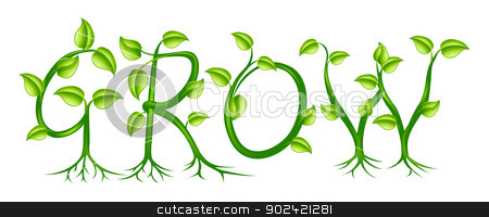Grow concept stock vector clipart, The word grow spelled out with a plant or vines with leaves growing into the letters by Christos Georghiou