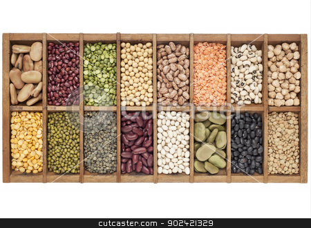 set of 16 legume samples stock photo, old wooden typesetter box with 16 samples of assorted legumes: green, red and French lentils, soybean, green and yellow pea, fava bean, kidney, black, mung chickpea bean,adzuki bean by Marek Uliasz