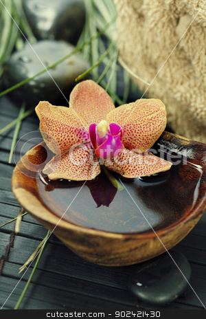 spa composition with beautiful orchid stock photo, spa concept (zen stones, orchid flower and towel)  by klenova