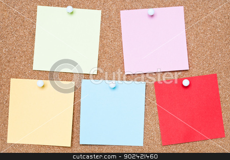 Colourful Adhesive Notes stock photo, Selection of blank adhesive notes attached to a cork board by Tiramisu Studio