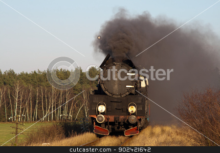 Old retro steam train stock photo, Vintage steam train passing through countryside by Jan Remisiewicz