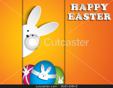 Happy Easter Rabbit Bunny on Orange Background stock vector clipart, Vector - Happy Easter Rabbit Bunny on Orange Background by AUGUSTO CABRAL