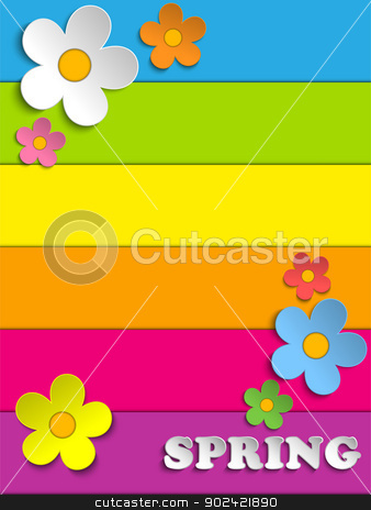 Beautiful Spring Flowers Rainbow Background  stock vector clipart, Vector - Beautiful Spring Flowers Rainbow Background  by Augusto Cabral Graphiste Rennes