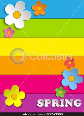 Beautiful Spring Flowers Rainbow Background  stock vector clipart, Vector - Beautiful Spring Flowers Rainbow Background  by Augusto Cabral Graphiste Rennes