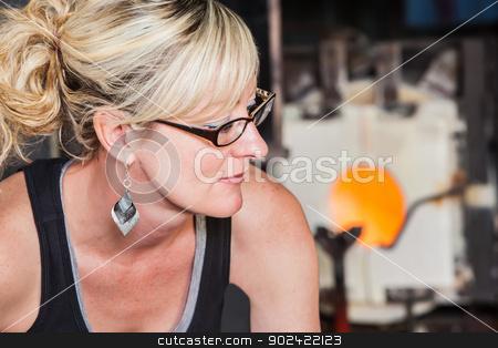 Woman Near Blast Furnace stock photo, Attractive female near factory blast furnace by Scott Griessel