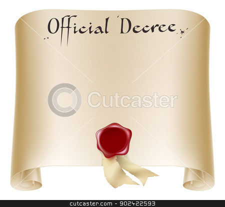 Official certificate scroll stock vector clipart, Antique historical paper certificate scroll document or decree with red wax seal. by Christos Georghiou
