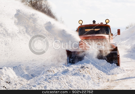 Snowplow at work stock photo, Snowplow removing snow from intercity road from snow blizzard by Aikon