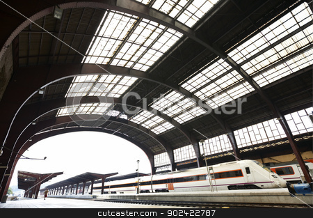 Railway station stock photo, Railway station with platforms and trains horizontal by ABBPhoto