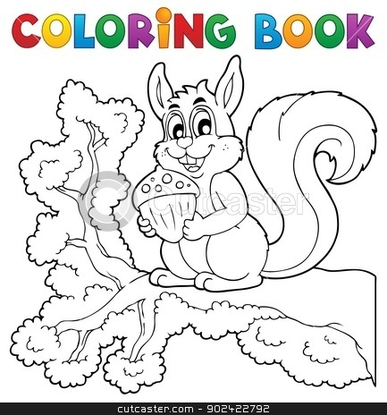Coloring book squirrel theme 1 stock vector clipart, Coloring book squirrel theme 1 - vector illustration. by Klara Viskova