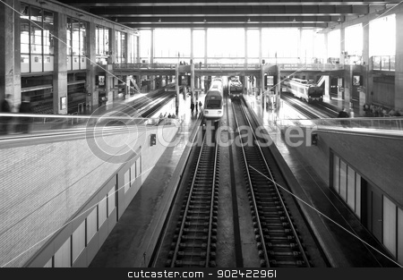 Railway station stock photo, Railway station with platforms and trains black and white by ABBPhoto