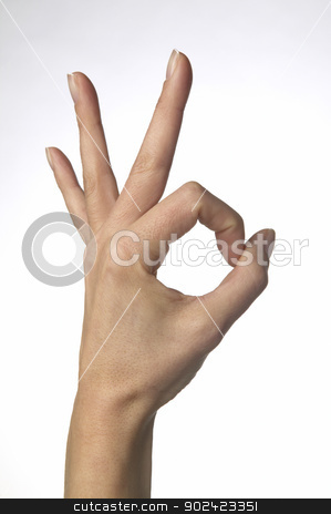 OK sign on a woman hand stock photo, OK sign on a woman hand isolated on white by ABBPhoto