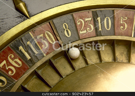 Playing on a vintage roulette stock photo, Ball on a vintage roulette with numbers by ABBPhoto