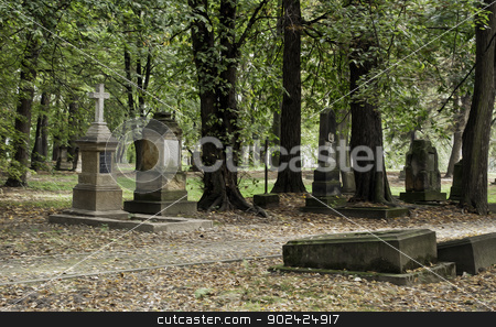 Cemetery in autumn. stock photo, Image of a cemetery in autumn. Oil paint effect. by Fernando Barozza