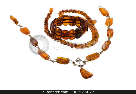 baltic amber stone jewelry necklaces bracelet  stock photo, baltic amber stone jewelry necklaces and bracelet by sauletas