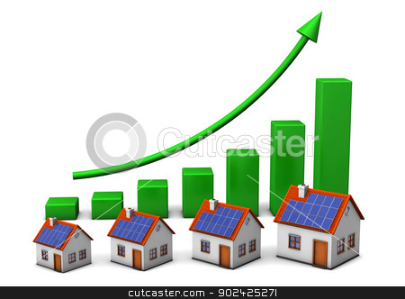 House Green Chart stock photo, Houses with green chart on the white background. by Alexander Limbach
