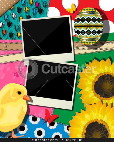 Easter background, scrapbook design stock vector clipart, Scrapbook design, celebration card for Easter holidays with two vintage frames and various objects. by Richard Laschon