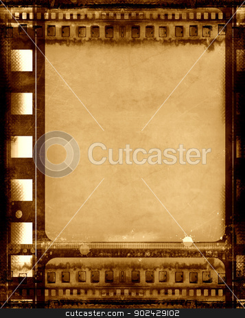 Grunge film frame stock photo, Computer designed highly detailed grunge textured film frame with space for your text or image by Gordan Poropat