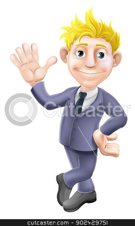 Man in suit waving cartoon stock vector clipart, A cartoon blonde business man mascot in a suit waving by Christos Georghiou