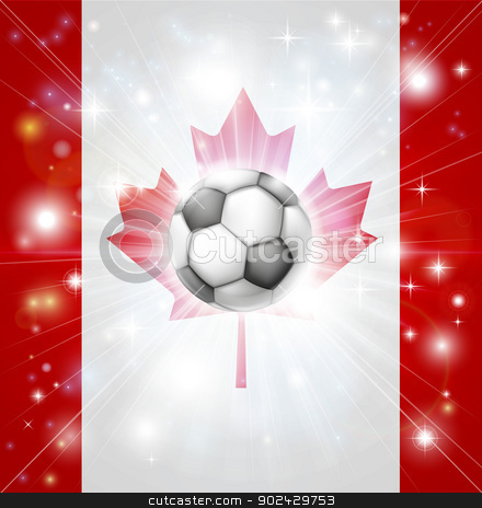 Canada soccer flag stock vector clipart, Flag of Canada soccer background with pyrotechnic or light burst and soccer football ball in the centre  by Christos Georghiou