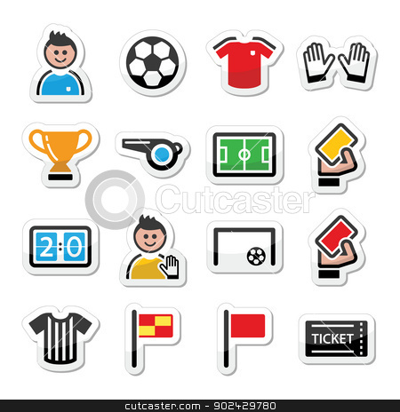 Soccer / football vector icons set stock vector clipart,  by Agnieszka Bernacka