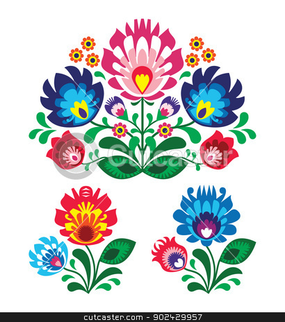 Polish floral folk embroidery pattern stock vector clipart, Traditional vector pattern form poland - paper catouts style isolated on white by Agnieszka Bernacka
