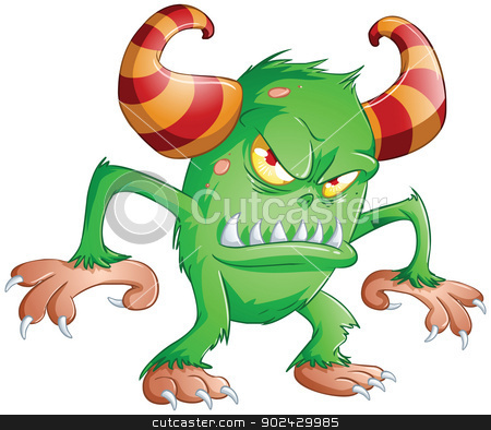 Halloween Monster 3 stock vector clipart, A vector illustration of cute scary green monster for Halloween. by Liron Peer