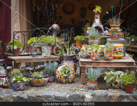 Outdoor Shop of Decorative Pots and Succulents stock photo, Beautiful Outdoor Shop of Decorative Pots and Succulents. by Andy Dean