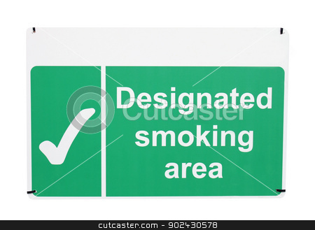 Designated smoking area sign stock photo, Designated smoking area sign isolated on white background. by Martin Crowdy