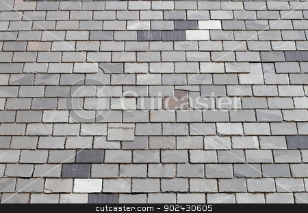 Gray tiled roof stock photo, Background of grey or gray tiled rooftop on building. by Martin Crowdy