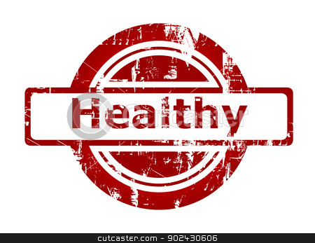 Healthy red stamp stock photo, Healthy red stamp with copy space isolated on white background. by Martin Crowdy
