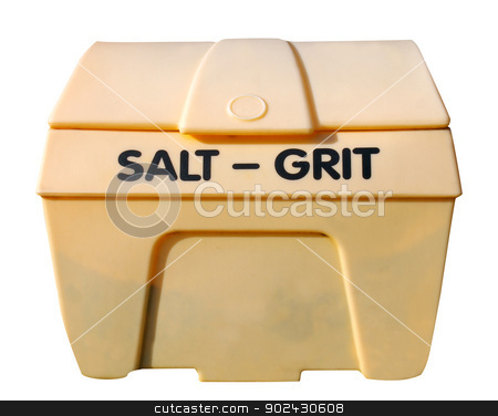Industrial salt and git bin  stock photo, Industrial salt and git bin isolated on white background. by Martin Crowdy