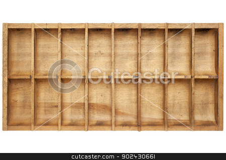 vintage typesetter box stock photo, vintage wood typesetter box with 16 numbered bins isolated on white by Marek Uliasz