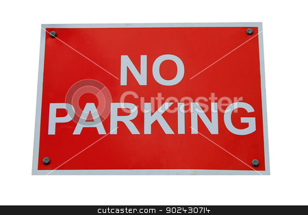 Red no parking sign stock photo, Red no parking sign isolated on a white background. by Martin Crowdy