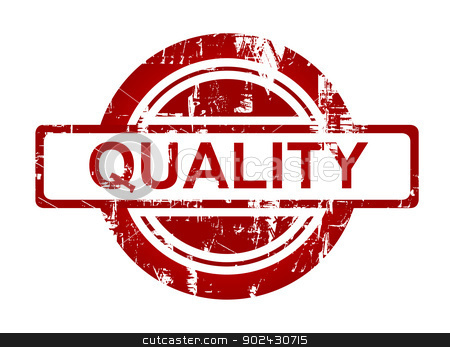 Red quality stamp stock photo, Red quality stamp isolated on white background. by Martin Crowdy