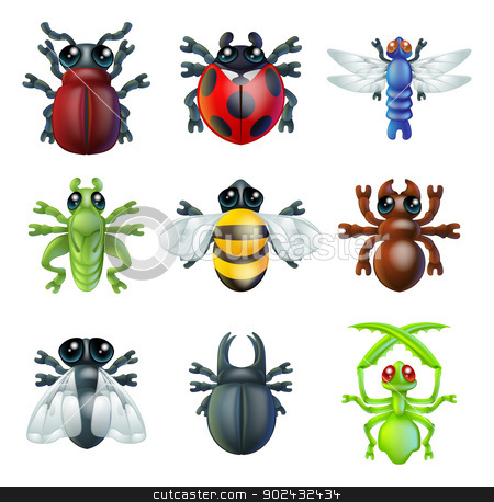 Insect bug icons  stock vector clipart, A series set of colourful insect bug icons, including ladybird mantis dragonfly bee ant grasshopper fly and other beetles by Christos Georghiou