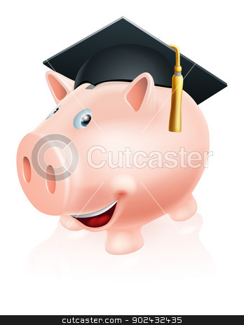 Education savings piggy bank stock vector clipart, Illustration of a happy academic education savings piggy bank with mortar board convocation  cap on. Concept for saving money for study or similar. by Christos Georghiou