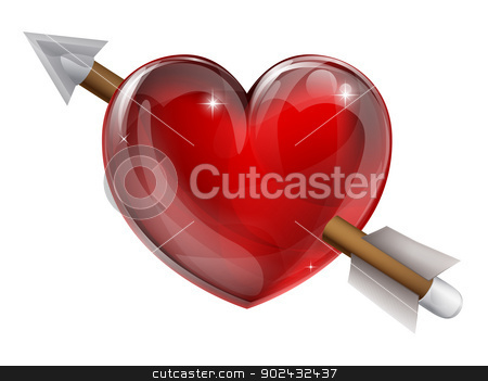 Shot through the heart stock vector clipart, Shot through the heart valentines concept. A conceptual illustration for being in love by Christos Georghiou