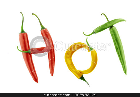 Hot chili  stock photo, Hot word made from Green, yellow and red hot chili pepper on white background  with a clipping path by Designsstock