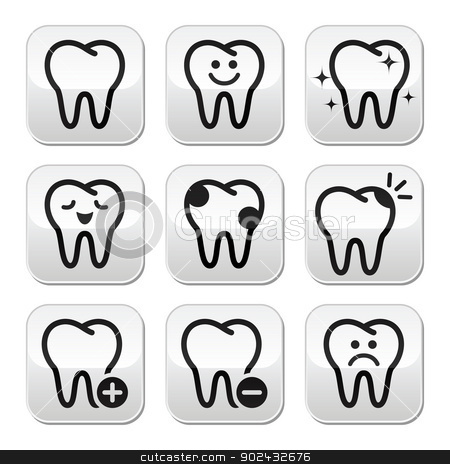 Tooth , teeth vector buttons set  stock vector clipart,  by Agnieszka Murphy