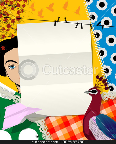Letter collage stock vector clipart, Abstract art scrapbook, collage design with empty paper sheet. by Richard Laschon