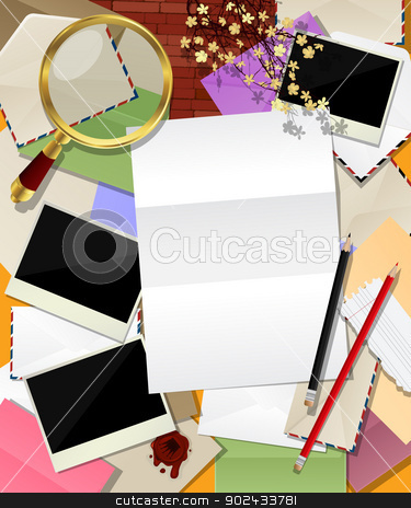 Mail abstract collage stock vector clipart, Abstract mail. Decorative frame made of different envelopes and room for text by Richard Laschon