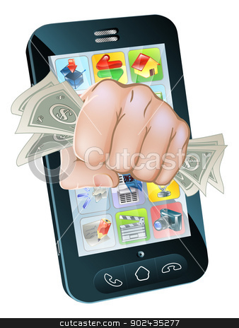 Cash Fist Cell Phone Concept stock vector clipart, An illustration of a cell phone with a fist full of dollars coming out of the screen by Christos Georghiou