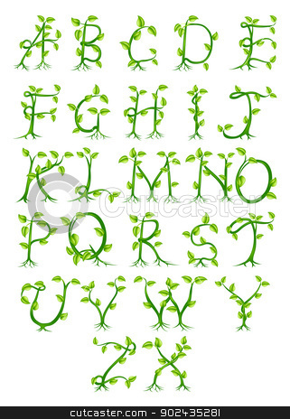 Plant alphabet letters stock vector clipart, A complete decorative alphabet made up of letters growing from green plants by Christos Georghiou
