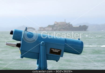 Observation Viewer stock photo, Observation coin viewer in San Francisco with Alcatraz in the background. by Henrik Lehnerer