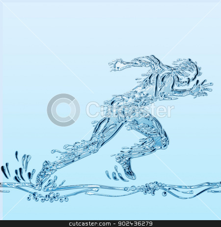 Runner of water stock photo, Creative illustration of an athlete simulating water. by PhotoEstelar